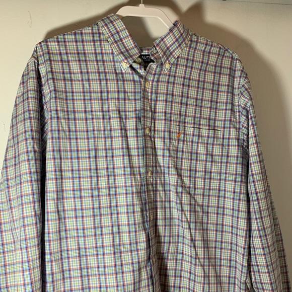 XL BLACK PLAID NWT NAUTICA MENS DRESS SHIRT REGULAR FIT YELLOW